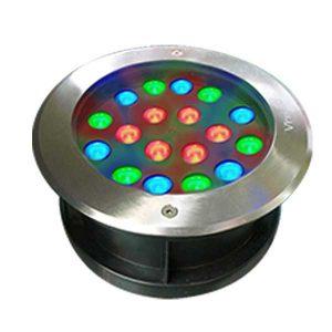 Đèn âm đất tròn 18x1W RGB