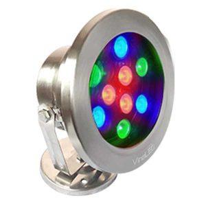 Đèn dưới nước 9w đa sắc mẫu C (đa sắc có điều khiển)